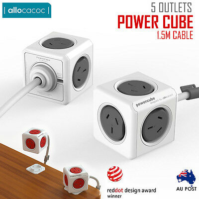 Allocacoc Powercube Extened 5 Outlets 1.5M Cable  Power Board With Surge Au