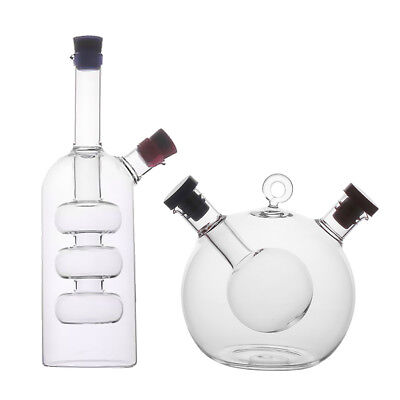 Kitchen 2-Outlet Glass Oil Jar Vinegar Dispensing Bottle Pot Sauce Cruet A/C