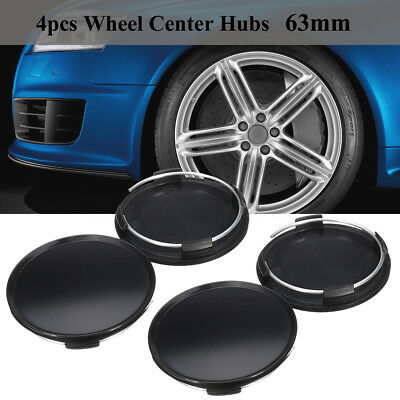 4 Pcs Set Universal 63mm Car Wheel Center Hubs Caps Covers NO Badge Emblem Black