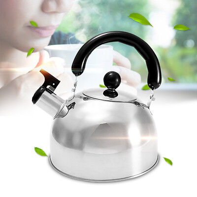 2L Silver Stainless Steel Whistling Tea Kettle Water Pot Coffee Heat Handle