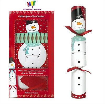 6 X Snowman - Make Your Own Christmas Crackers Snaps Jokes Hats Kit Set New Xmas