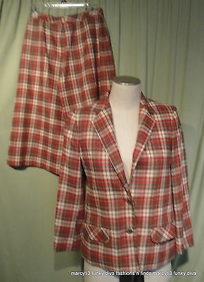 Vintage 80's Red Plaid Givenchey  Gaucho Split Skirt Tailored Suit Sz 8