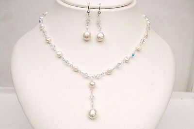 Freshwater Pearl & Crystal Bridal Jewellery Set 925 Silver Necklace And Earrings