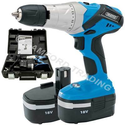 Draper 18V Cordless Hammer Drill with 2 Batteries and Charger Power Tool Bundle