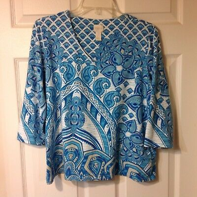 Chicos Womens 3/4 Sleeve Pullover Stretch Blouse Shirt Top,  Size 2