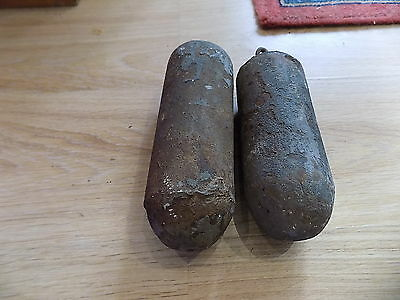 pair of antique cast iron Grandfather Longcase clock weights - spares parts