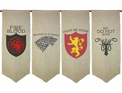 Game Of Thrones Fan Art Printed Wall Hanging House Sigil Role Playing Banners