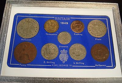 1949 Vintage 9 Coin Set A Includes Rare Threepence 68Th Birthday Anniversary