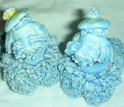 Vintage 1950's Royal Japan Rare Blue Spaghetti Hair Pair of Poodle Dog Figurines