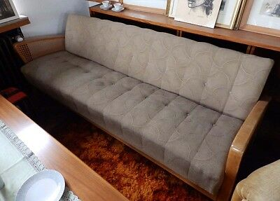 Canape ottomane liege tagesliege 50er vintage for Schlafsofa holz
