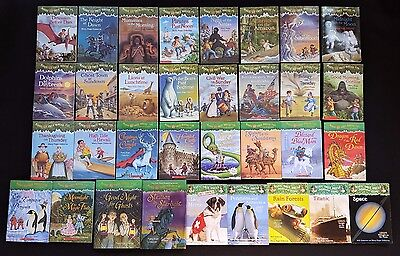 Lot of 33 Magic Tree House Books Merlin Mission Fact Tracker Research Guide
