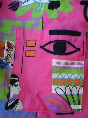 NOS Vtg L Funky Egyptian Cartoon 80s Cotton NewWave Eyes Leg goons Shirt As is