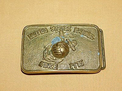 Vintage Us  Globe Anchor United States Marines Since 1775 Brass Belt Buckle