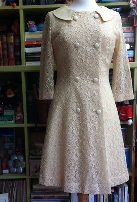 TRUE VINTAGE LATE 1960s SHORT WEDDING DRESS & LACE COAT JACKIE O MOD SIZE 10