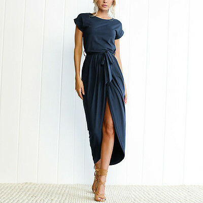 ISASSY Womens Evening Party Cocktail Dress Ladies Belted Long Maxi Sundress US