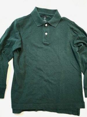 LANDS' END Big Kid's Size Small 7/8 Evergreen LS Mesh Knit Uniform Polo Top EXC