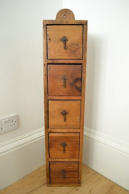 Antique  Edwardian Heavy Wooden Handmade Slim Chest Of Drawers Rustic Design