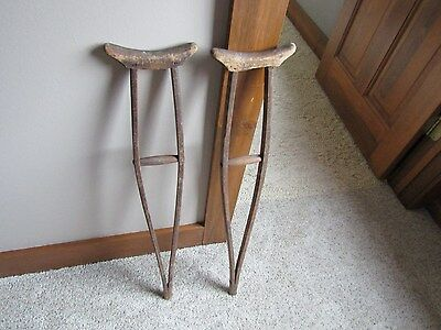 "1800's-Early 1900's Child's Hand Made Wooden Crutches - 30 3/4"" Tall"