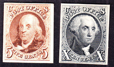 US 3P4 & 4P4 1847 Issue Franklin & Washington Proofs on Card SCV $500  (-005)