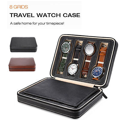 Portable 2/4/8 Grids Travel Watch Box Superior PU Leather Storage Case Organizer