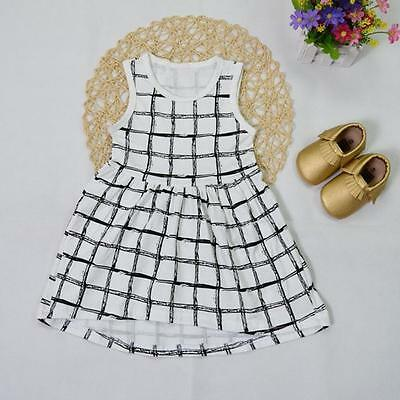 US Toddler Kids Baby Girls Dress Casual Summer Sleeveless Cropped Dresses 110