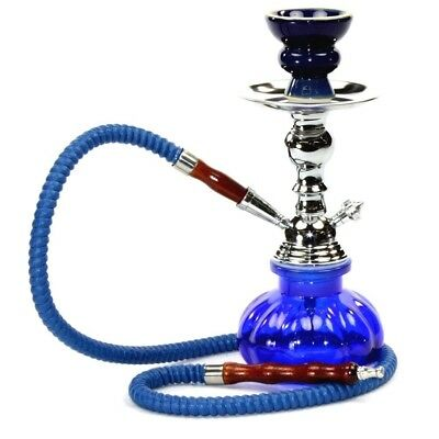 "Blue Small MINI Hookah 11"" Glass Water Pipe 1 r 2 Hose Shisha Narghile Charcoal"
