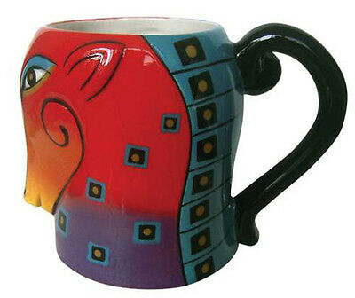 * New LAUREL BURCH Mug Cup SQUARES HOUSE Pony COFFEE TEA 16 Oz HEAD Red Purple