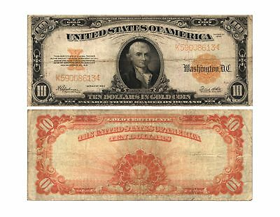 1922 $10 U S GOLD CERTIFICATE HILLEGAS Large Size Currency Note FR#1173 FINE