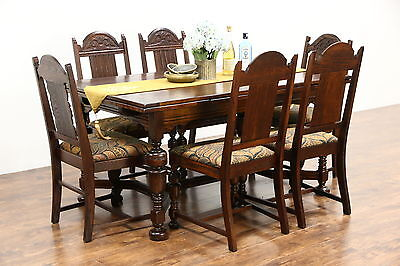 English Tudor Antique 1920 Oak Dining Set, Table 2 Leaves, 6 Chairs