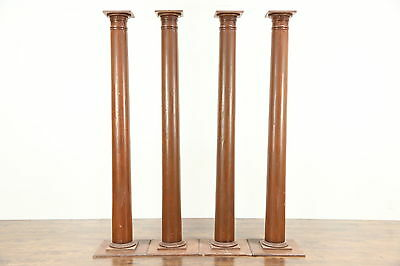 "Set of 4 Antique 1920 Pine 81"" Architectural Salvage Columns"