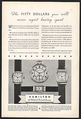 1931 HAMILTON Men's Antique Watch PRINT AD 4 styles shown w/ prices Advertising