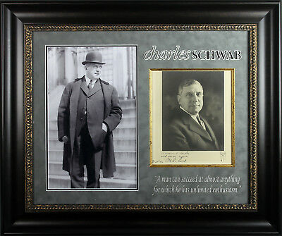 Charles Schwab Authentic Signed & Framed 10x12 Cabinet Photo BAS #A81750