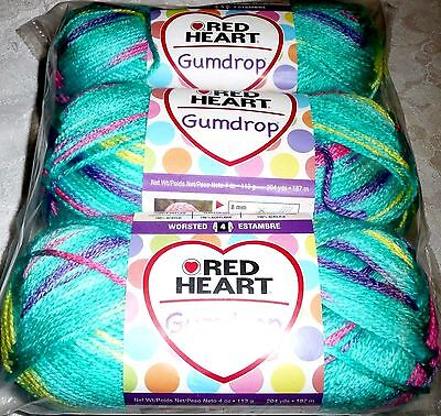 Red Heart GUMDROP Yarn Lot of 3 SMOOTHIE (green,pink,blue,yellow,purple)