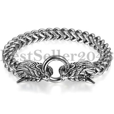 Gothic Large Biker Mens Polished Stainless Steel Dragon Curb Chain Bracelet 8.3""