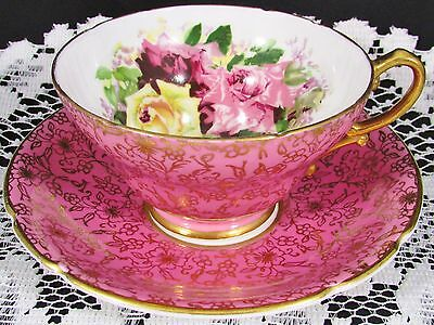 Stanley Hot Pink Gold Gilt Floral Roses Tea Cup And Saucer