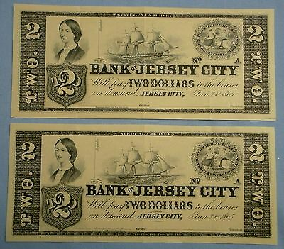 Collector's Edition Rerpint Currency . Bank of Jersey City $2 . 1865
