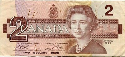 Circulated $2 Bill Two Dollar Note Canada 1986 Bra5160147