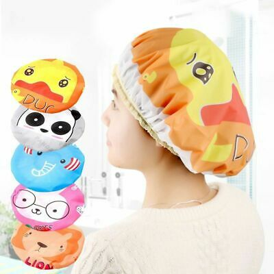 1 Pcs Women Shower Cap Waterproof Elastic Bath Hat Cleaning Hat Cute Kid Adult
