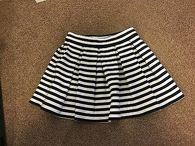 Seed Girls Blue & White Striped Box Pleat Skirt. Size 6-7