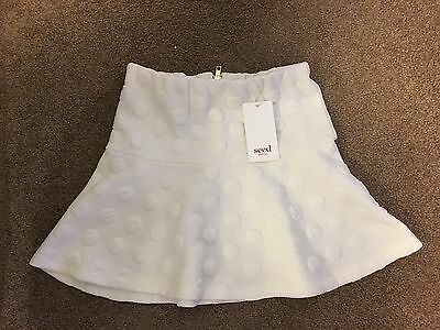 Seed Girls Textured White Skirt. Size 7-8 Brand New With Tags