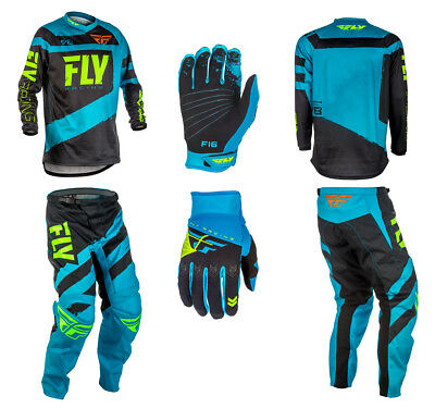 Fly Racing F-16 Adult Combo Kit - BLUE / BLACK - 28-42 Pants, Jersey & Gloves
