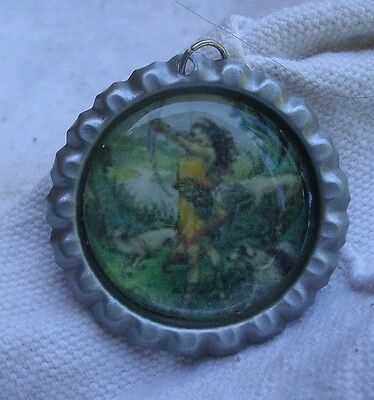 Goddess Diana & Hounds Necklace,round cap style,steel,ball chain -Artemis,pagan
