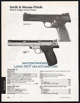 2003 SMITH & WESSON Model 41 and 22A Pistol AD w/specs & original prices