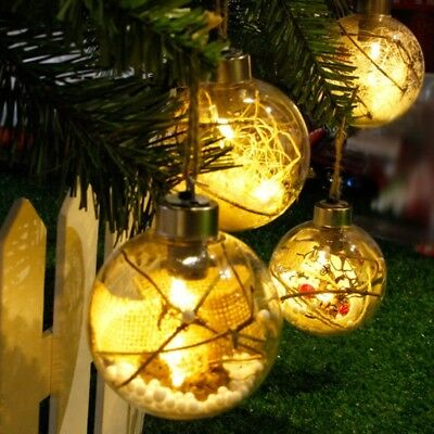 LED Transparent Ball Light Christmas Tree Hanging Ornaments Holiday Decoration