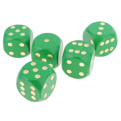 5x D6 5cm Six Sided 2 inch Dice Spot Dices for RPG Game Party Supply Green