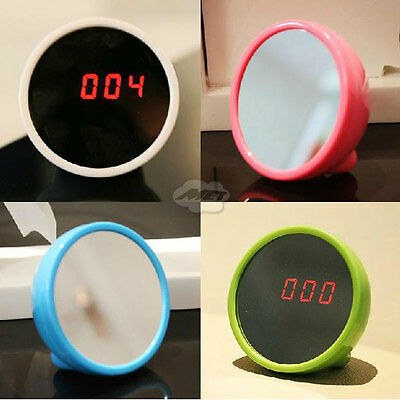 Cute Mini Digital Beauty Magic Mirror Time Date LED Display Timer Alarm Clock