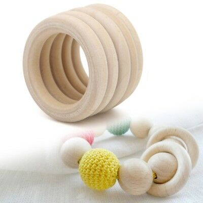 5Pcs 15mm-90mm Natural Wood Circle Ring Pendant Connectors Beads DIY Jewelry
