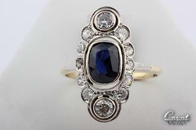 Saphir Ring mit Diamanten aus 14kt 585 Gold Antiker Diamantring 0,94 ct. Gr. 53
