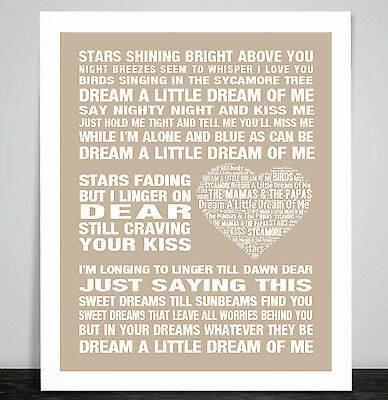 The Mamas & The Papas Dream A Little Dream Love Song Lyric Art Print Poster