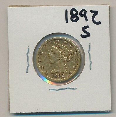 U.s. Gold - $5.00 Liberty 1892-S - Genuine, Of Course !